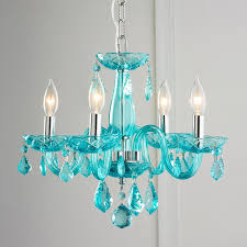 bedroom blue crystal chandelier for girls with 4 lights and chain full size