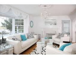 Fresh White And Aqua Living Room Living Room