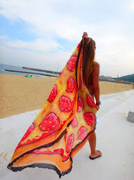 ピザ おしゃれなラウンド ビーチタオル 大判 円形 こどもと一緒に夏の海