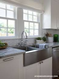 stainless steel deep farmhouse sink mini white subway tile with light grey grout apron kitchen sink kitchen