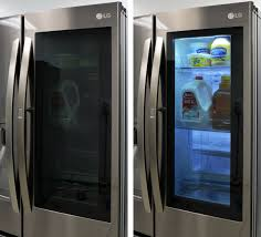 lg refrigerator instaview. lg instaview light. when the light is off, glass panel isn\u0027t quite fully opaque. knock on it, and a soft blue illuminates interior. lg refrigerator instaview e