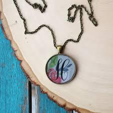 monogram initial resin pendant necklace diy