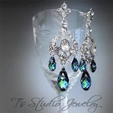 peacock blue wedding jewelry bridal chandelier earrings bridesmaid crystal and rhinestone silver earings