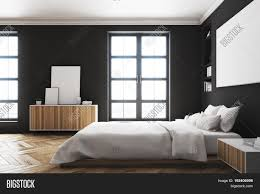 modern bed side view. Perfect Side Side View Of A Modern Luxury Bedroom With Black Walls Large Bed In The  Center And Modern Bed View