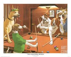 new the scratching beatle arther sarnoff print of painting pool table dogs
