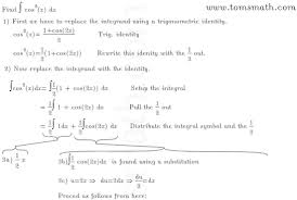 Step By Step Instructions For Finding The Integral Of Cosine