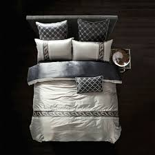 silk bamboo fiber duvet cover set silver light gray bed linens queen king size bedding sets