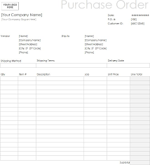 Purchase Order Forms Sample Blank Purchase Order Form