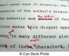 essay stock photos and images essay pictures and royalty   paper corrections macro of a paper corrected in red pen