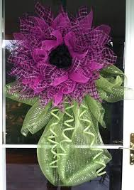 Hot Pink Black Deco Mesh Flower Wreath This Can Be Wall