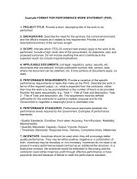 Work Statement Examples Example Format For Performance Work Statement Pws