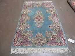 3 x 5 vintage hand made persian kirman wool rug medallion blue nice