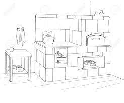 Tiled Stove In A Corner Vector Illustration In Sketch Style