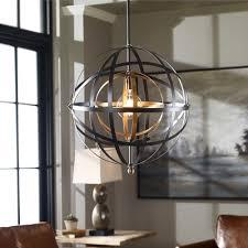 rustic steel orb globe chandelier industrial pendant ceiling
