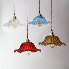 colored glass lighting. Vintage Colored Glass Hanging Lampshade Light Fixture Lighting M