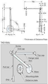 sugatsune tas tallman single type pull down closet rod line drawing