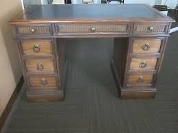 sligh kneehole desk vintage leather