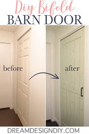 for 15 easily turn a bifold door into a barn door by adding a sheet of