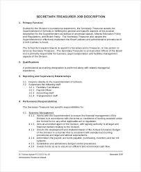 Treasurer Job Description