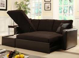 fabulous espresso leather sleeper sectional sofa for small spaces with storage