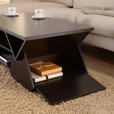 hokku designs voss coffee table with drawer in espresso delilah ku