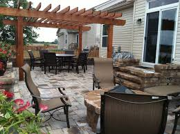 paver patio with pergola. Columbus Paver Patio And Pergola With Retaining Wall Surround E