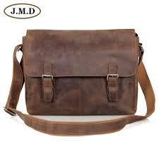 jmd vintage genuine crazy horse leather men s messenger bag man shoulder sling bag 15 inch laptops
