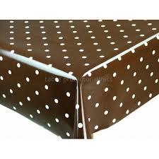 chocolate brown dotty cotton oilcloth tablecloth