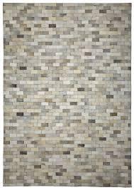 bricks ivory grey cowhide rug