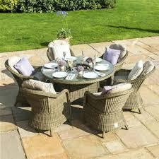 garden table chairs set maze rattan 6 round armchair garden furniture set garden table and chairs