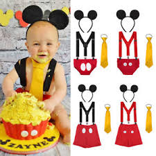 Baby Boy Mickey Mouse 1st Birthday Cake Smash Photography Props