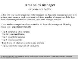 Area sales manager experience letter