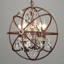 orb light 4 5 6 8 lights rustic iron crystal sphere pendant lamp globe rust loft orb light