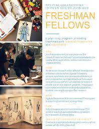 freshman fellows special collections archives guides at apply to become a special collections freshman fellow
