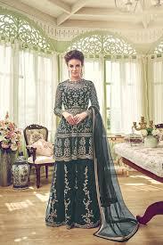 Designer Sharara Suits Pine Green Net Sharara Suits