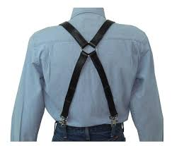 black leather x back suspenders with silver ring back image 0