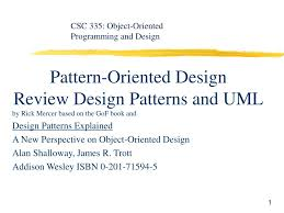 Pattern Oriented Design Ppt Pattern Oriented Design Review Design Patterns And Uml
