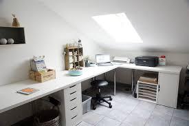 white home office corner table setup with ikea linnmon adils alex drawer storage
