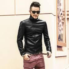 new men casual leather jacket black slim fit