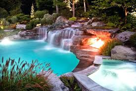 in ground pools with waterfalls. Waterfalls For Swimming Pools Amazing Pool Designs With Waterfall And Outdoor Lighting Around In Ground