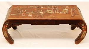 chinese carved wood inlaid stone coffee table antique 13611