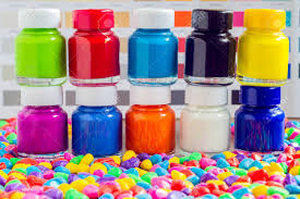 Small Color Chart Bottles Color On Multicolored Small Stone With Background Color