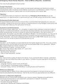Icu Rn Resume Objective Emergency Room Nurse Operating Nursing