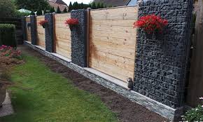 Combining gabion wall with wood