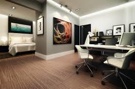 bedroom office design. Bedroom Master Office Combo White Ceramic Flooring Side Open Bookcase Slim Base Shelves Black Wooden Purple Design