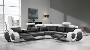 Black Leather Sectional Sofa With Recliner Divani Casa 4087 Modern Black And White Bonded Leather Sectional