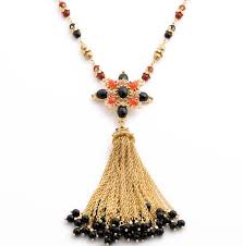 trendy black beads flower gold long tassel pendant necklace whole