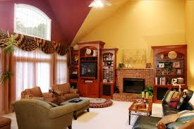 the brick condo furniture. Color Ideas For Living Room With Brick Fireplace Design Brown On The Middle Of Wooden Shelves Bined Yellow And Wall Paint Condo Furniture