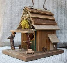 Rustic Birdhouses Rustic Birdhouse With Porch Natural Barn Wood Bird House