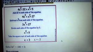 example 3 solve quadratic equations no b term